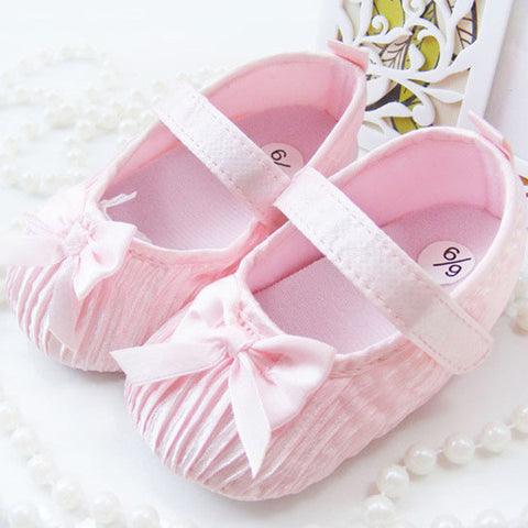 Cute Hot Selling  Toddler Shoes Baby Kids Girls Bowknot Satin Crib Shoes Princess Shoes Size 0-18M