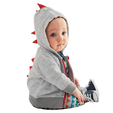 Infant Toddler Baby Boy Girl Dinosaur Pattern Hooded Zipper Tops Clothes Coat Kid Windbreaker Spring Autumn Clothes Hooded Coat