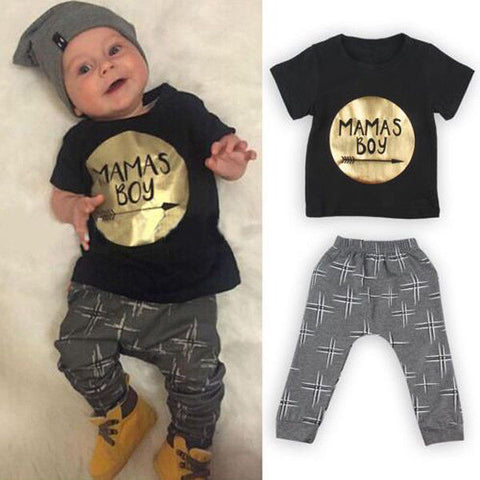 Golden Letter Mamas Boys Printed Jumpsuit Outfit