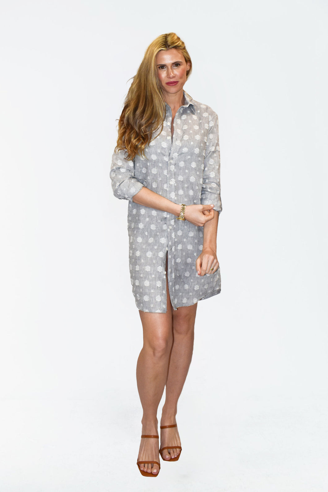SILVER GREY LINEN DOT GIRLFRIEND DRESS