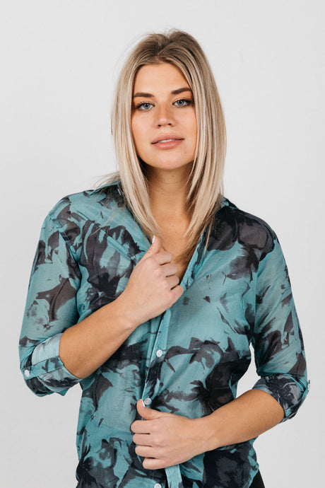 GIRLFRIEND SHIRT TEAL FLORAL COTTON/SILK