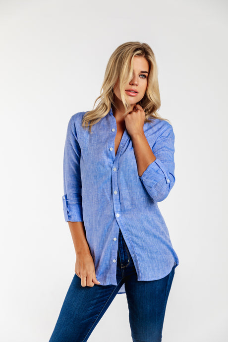 GIRLFRIEND SHIRT SKY BLUE LINEN