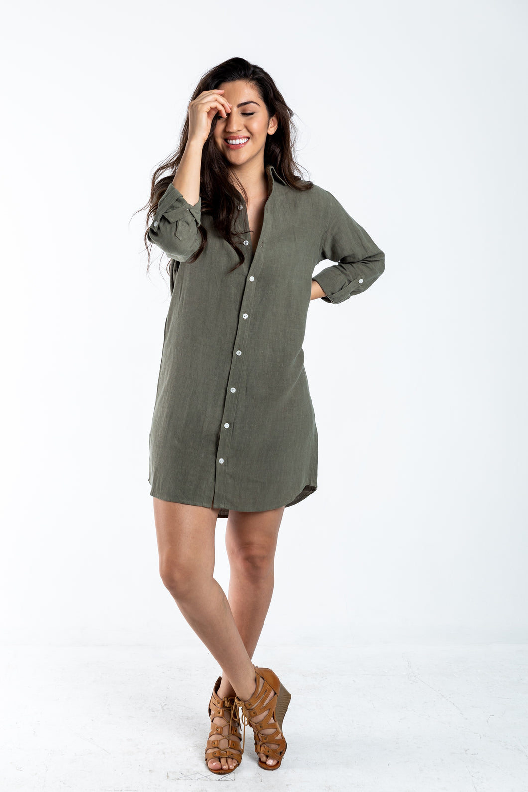 GIRLFRIEND DRESS OLIVE GREEN LINEN