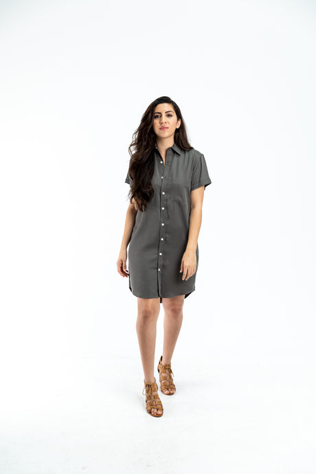 SHORT SLEEVE GIRLFRIEND DRESS OLIVE TENCEL