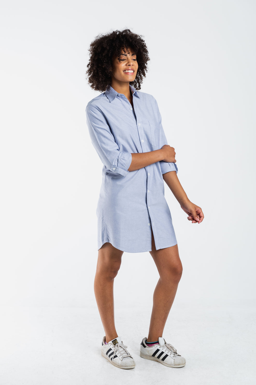 GIRLFRIEND DRESS GREY OXFORD