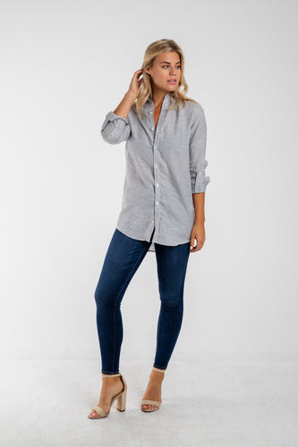 GIRLFRIEND SHIRT GREY LINEN