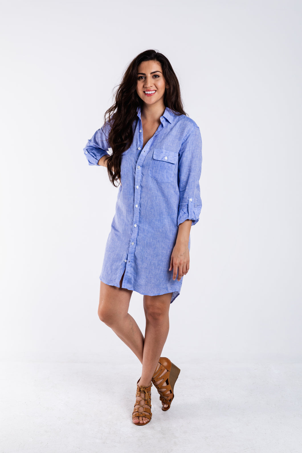 GIRLFRIEND DRESS SKY BLUE LINEN