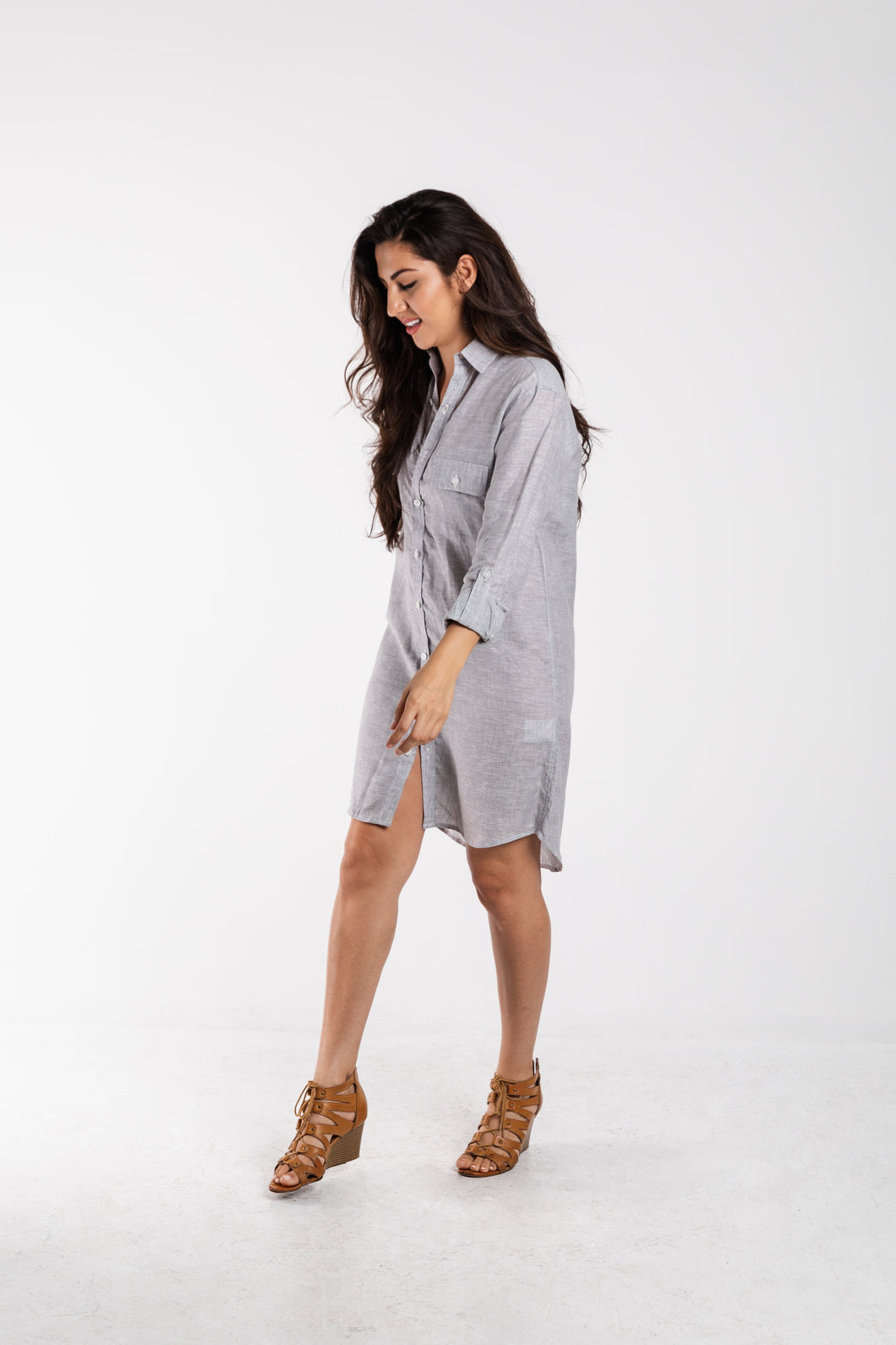 GIRLFRIEND DRESS GREY LINEN