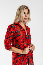GIRLFRIEND SHIRT RED FLORAL COTTON/SILK
