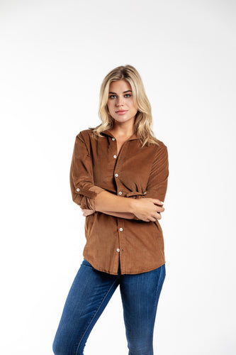 GIRLFRIEND SHIRT CAMEL BABY CORD
