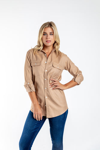 GIRLFRIEND SHIRT CAMEL COTTON/TENCEL