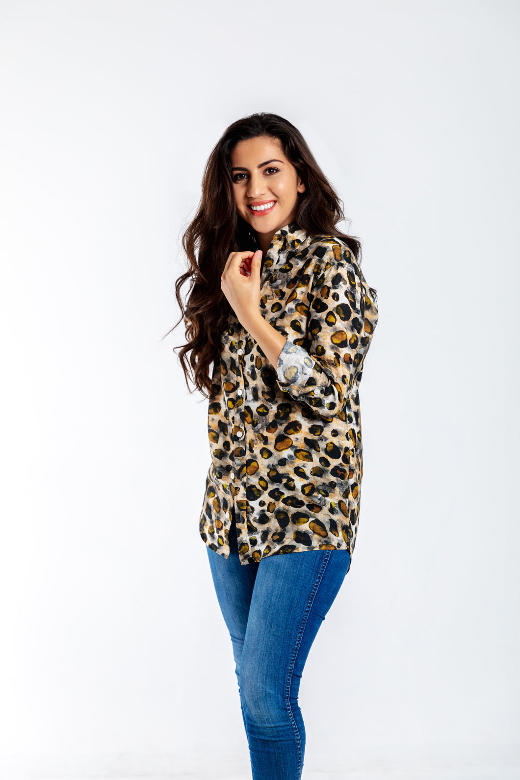 GIRLFRIEND SHIRT CHEETAH LINEN  ***Limited Edition