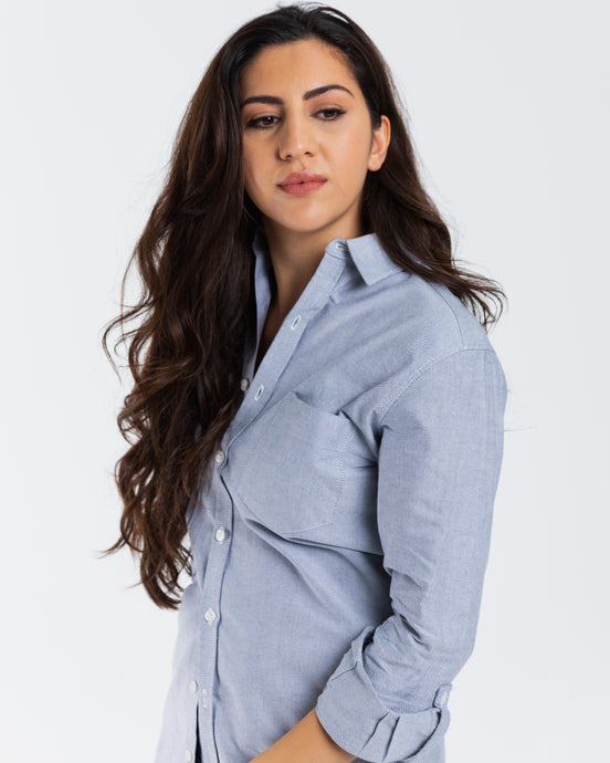 GIRLFRIEND SHIRT GREY OXFORD