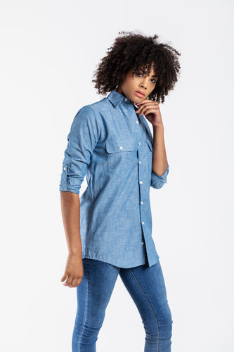 GIRLFRIEND SHIRT BLUE CHAMBRAY