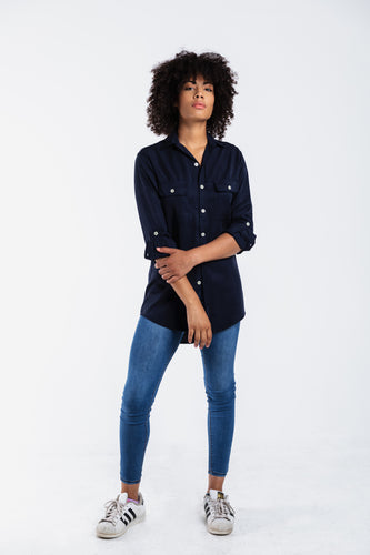 GIRLFRIEND SHIRT NAVY TENCEL