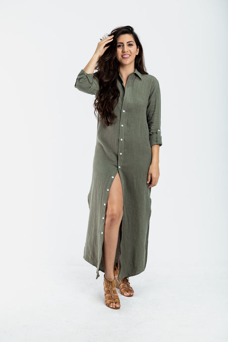 GIRLFRIEND MAXI DRESS OLIVE GREEN LINEN