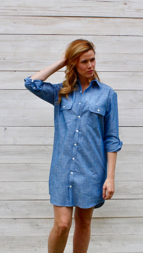GIRLFRIEND DRESS BLUE CHAMBRAY