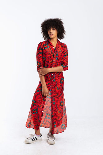 GIRLFRIEND MAXI RED MULTI FLORAL COTTON/SILK
