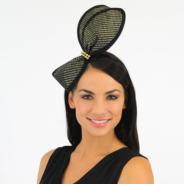 JI Headband Fascinator - Black & Gold Bow