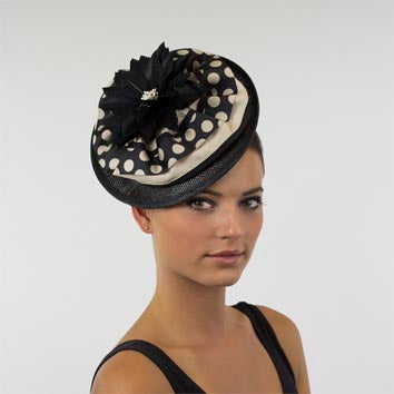 JI Headband Fascinator - Black & Honey Spots