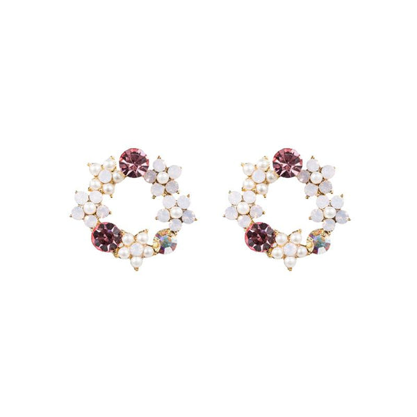 FC Swarovski Wreath Crystal Earring - Pink
