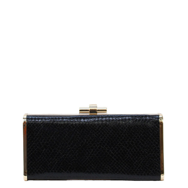 Jendi Croc Clutch - Black