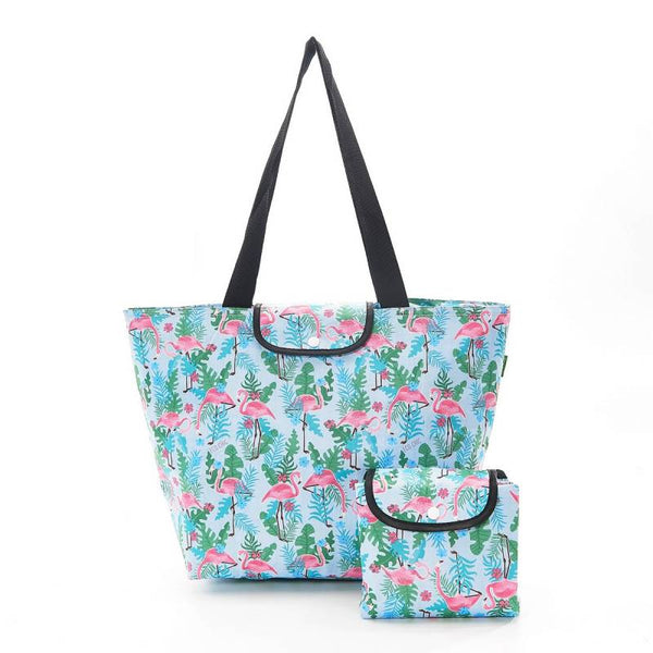 Eco Chic Large Cool Bag - Light Blue Flamingo