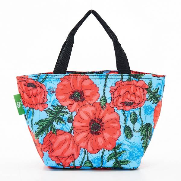 Eco Chic Lunch Cooler Bag - Light Blue Poppies
