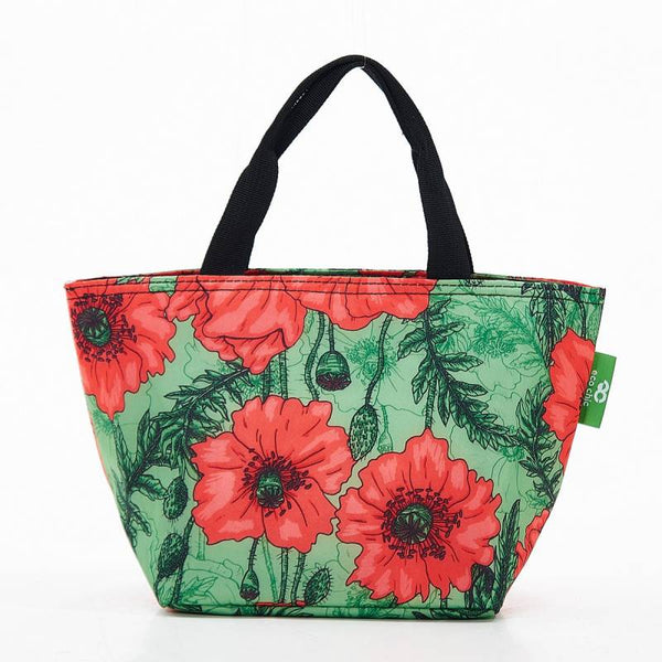 Eco Chic Lunch Cooler Bag - Green Poppies