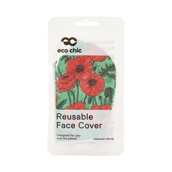 Eco Chic Reusable Face Mask - Green Poppies