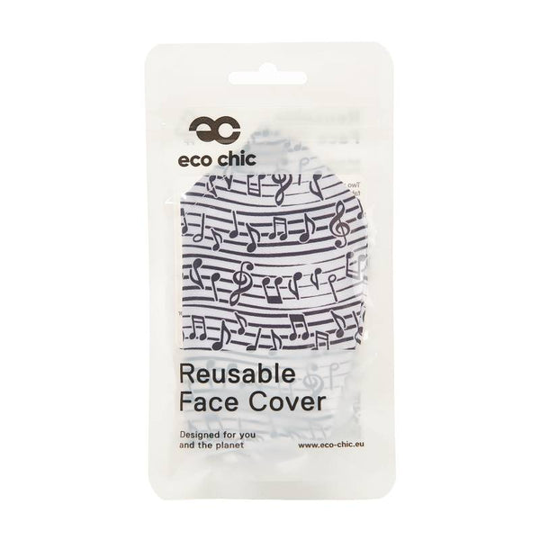 Eco Chic Reusable Face Mask - White Musical