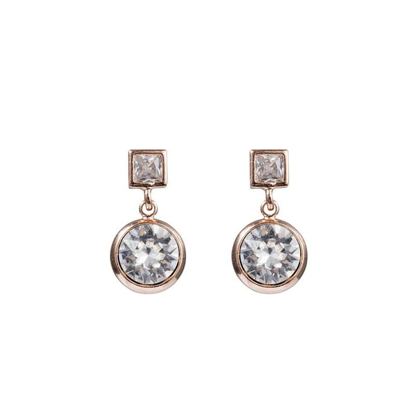 FC Squared Crystal Drop Earring - Clear Crystal
