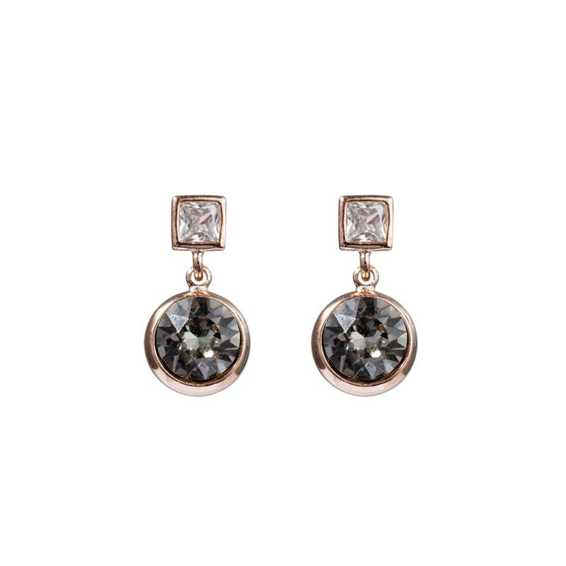 FC Squared Crystal Drop Earring - Smoke