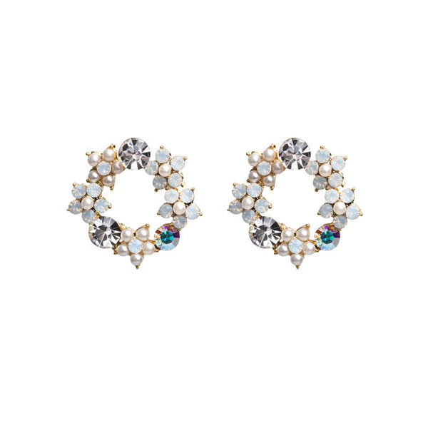 FC Swarovski Wreath Crystal Earring - White