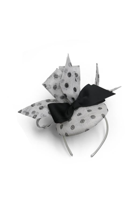 MT Headband Fascinator - White & Black Spots