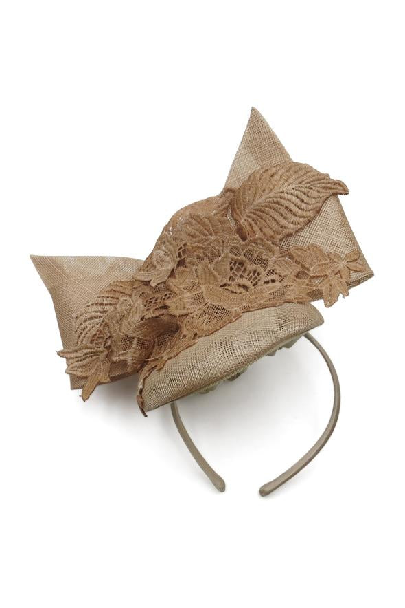 MT Headband Fascinator - Nude Large Bow