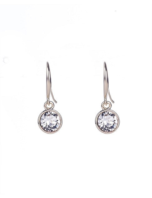 GL Bezel Drop Earring - Rhodium