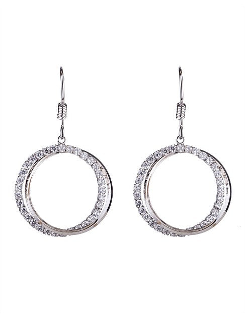 GL Woven Drop Circle Earring - Rhodium