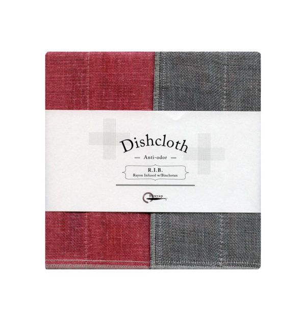 NW Dishcloth - Natural Binchotan + Red