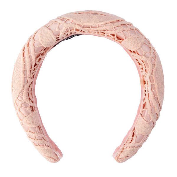 Olga Berg Deloris Lace Padded Headband - Blush