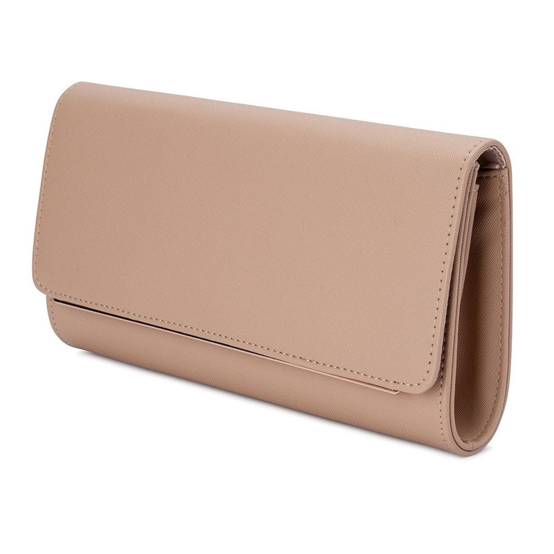 Olga Berg Lee Saffiano Foldover Clutch - Natural