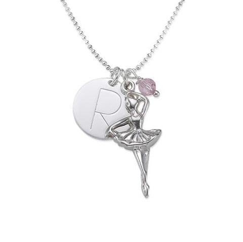 Georgie's Jewelry sterling silver ballerina with birthstone