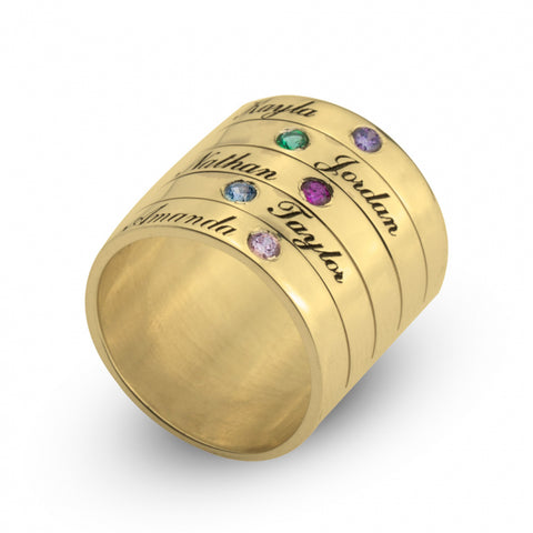 Georgie's Jewelry stackable 24k gold plated ring with birthstones