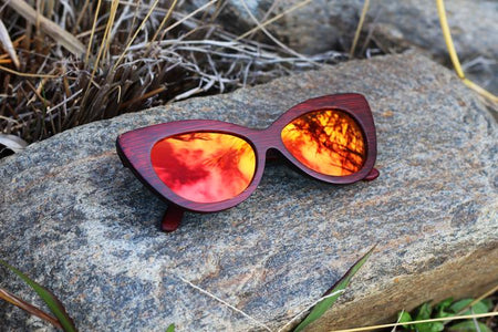 """Fire Storm"" Wooden Sunglasses"