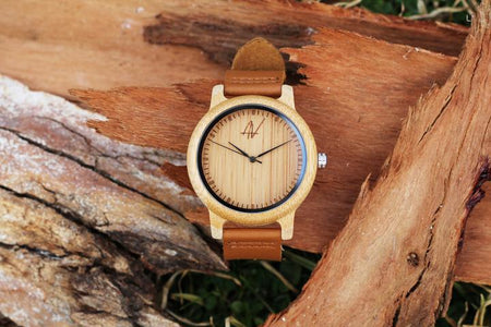 Awoken Vibes Leather Band Wooden Watch