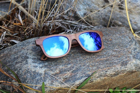 """True Blue"" Wooden Sunglasses"