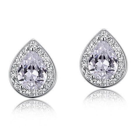 Clear White Created Diamond Stud Earrings
