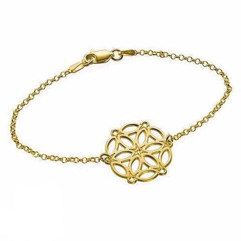 Circle of Life Mandala Bracelet -18k Gold Plated