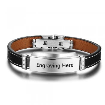 Men's Leather Personalised Bracelet