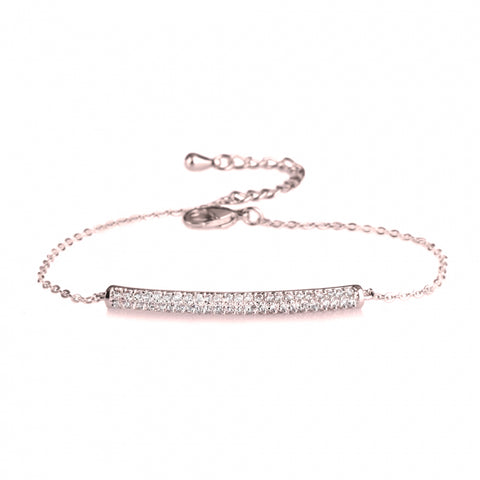 Dainty Bar Bracelet with Cubic Zirconia-Rose Gold